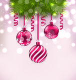 Christmas fir branches and glass balls, copy space for your text Stock Images