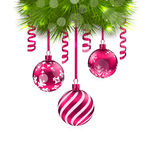 Christmas Fir Branches and Glass Balls Royalty Free Stock Photography