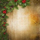 Christmas fir branches and holly on wooden board Stock Photos