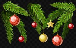 Christmas fir branches - set of modern vector realistic isolated elements. On transparent background. Pine needle with decorations, balls, stars. Perfect for Stock Image