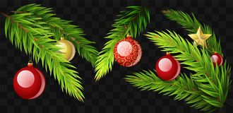Christmas fir branches - set of modern vector realistic isolated elements. On transparent background. Pine needle with decorations, balls, stars. Perfect for Royalty Free Stock Photo