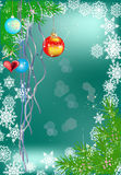 Christmas fir branches and snowflakes Royalty Free Stock Photo