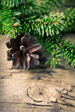 Christmas fir cone on wooden background Royalty Free Stock Photography