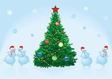 Christmas fir with dancing snowmen Royalty Free Stock Photography