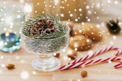 Christmas fir decoration with cone in dessert bowl stock images