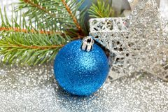 Christmas fir and decoration Stock Images
