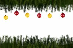 Christmas fir frame with balls. Christmas frame of fir branches balls on the white background Royalty Free Stock Photos