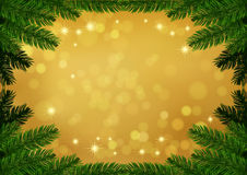 Christmas fir frame gold background Stock Photo