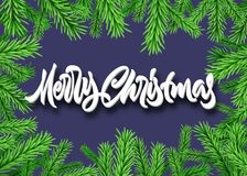 Christmas fir or spruce frame with Merry Christmas calligraphic lettering. Christmas fir frame with Merry Christmas calligraphic lettering Royalty Free Stock Images