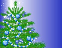Christmas fir tree. Decorated with blue balloons and ribbons Royalty Free Stock Photo