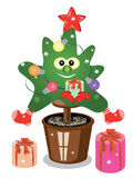Christmas fir tree. With gifts Stock Photo