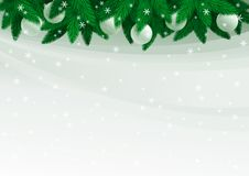 Christmas fir tree. Vector illustration of christmas fir tree with baubles and snowflakes on grey abstract background Royalty Free Stock Image