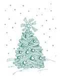 CHRISTMAS FIR TREE. On white background Stock Images