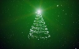 Christmas fir-tree. Fur-tree and snowflakes on a green background Stock Images