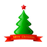 Christmas Fir Tree. Green Christmas Fir Tree With Star Royalty Free Stock Photos
