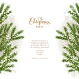 Christmas fir tree background. Green fir-tree branches. Natural design elements. Winter background with place for text Royalty Free Stock Images