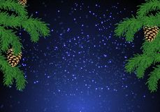 Christmas fir tree background over magic blue sky with stars. stock image