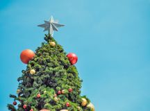 Christmas fir tree with ball decorations Royalty Free Stock Images