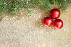 Christmas fir tree with baubles decoration Royalty Free Stock Photos
