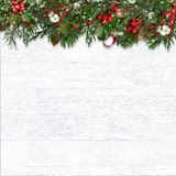 Christmas fir tree and berries on wooden white background stock images