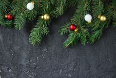 Christmas fir tree on black background Royalty Free Stock Photography