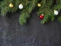 Christmas fir tree on black background Royalty Free Stock Photo