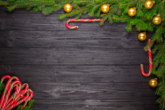 Christmas fir tree on black wooden background Royalty Free Stock Image