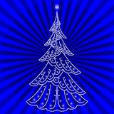 Christmas fir-tree on blue. Christmas fir-tree, pictogram, holiday symbol on blue abstract background Royalty Free Stock Photos