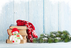 Christmas fir tree, books and snowman Stock Image