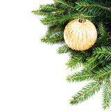 Christmas Fir Tree Border with Christmas decoration isolated on Stock Photography