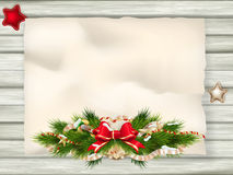 Christmas Fir Tree Border. EPS 10. Christmas Fir Tree Border over Vintage background. EPS 10 vector file included Stock Photography