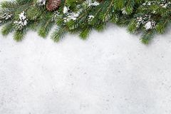 Christmas fir tree branch covered by snow card stock image