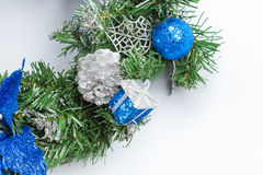 Christmas fir tree branch with golden decoration Royalty Free Stock Image