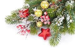 Christmas fir tree branch with holly berry and decor Stock Photo