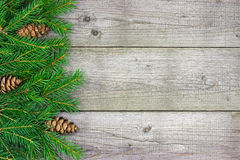 Christmas fir tree branch on rustic Royalty Free Stock Photos