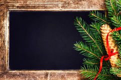 Christmas  Fir Tree Branch on  Vintage Blackboard with cone and Stock Photo