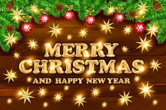Gold Merry Christmas and Happy New Year black shine background. Christmas fir tree branches with balls decoration isolated on white background with copy space Royalty Free Stock Photos