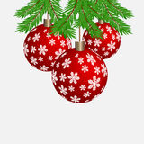 Christmas fir tree branches with balls decoration isolated on white background . New Year . Christmas fir tree branches with balls decoration isolated on white Royalty Free Stock Image