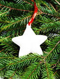 Christmas Fir Tree Branches and Christmas decoration with white Royalty Free Stock Photography