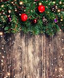 Christmas fir tree branches with toys Stock Photo