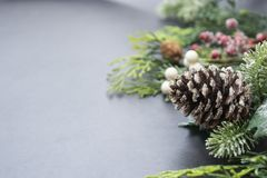 Free Christmas Fir Tree Branches, Winter Background Border Over Gray Board, Copy Space. Winter Greeting Card, Winter Holidays Stock Photography - 162115112