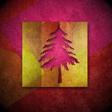 Christmas fir tree brightly colored card, copy space Royalty Free Stock Photography