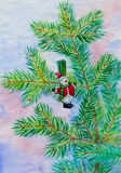 Christmas fir tree branch with snowman. Watercolor painting. This image has attached release Royalty Free Stock Photo