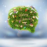 Christmas fir tree Bubble for speech. EPS 10 Stock Photo