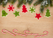 Christmas fir tree, candy cane and decor Stock Photography