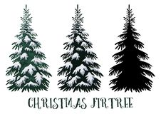 Christmas Fir Tree. Green with White Snow and Black Silhouette Isolated on White Backgrounds. Vector stock illustration