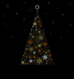 Christmas Fir tree from  colored snowflakes. Royalty Free Stock Images