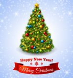 Christmas fir tree with colorful baubles and gold star. Vector illustration. New Year congratulations Stock Photography