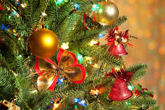 Christmas fir tree with colorful lights close up Royalty Free Stock Photography