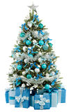 Christmas fir tree with colorful lights close up Stock Photos